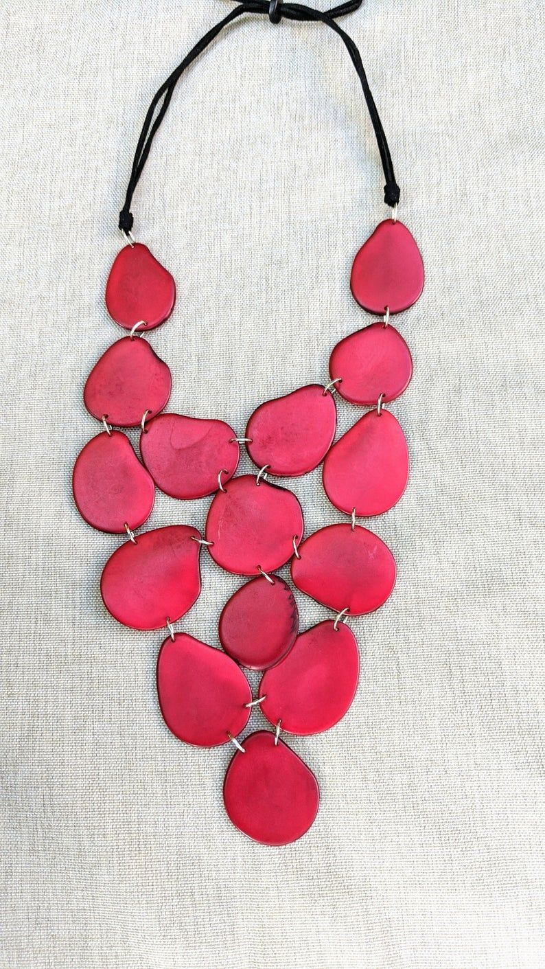 Red Natural Necklace Red Necklace Red Tagua Necklace Tagua Necklace