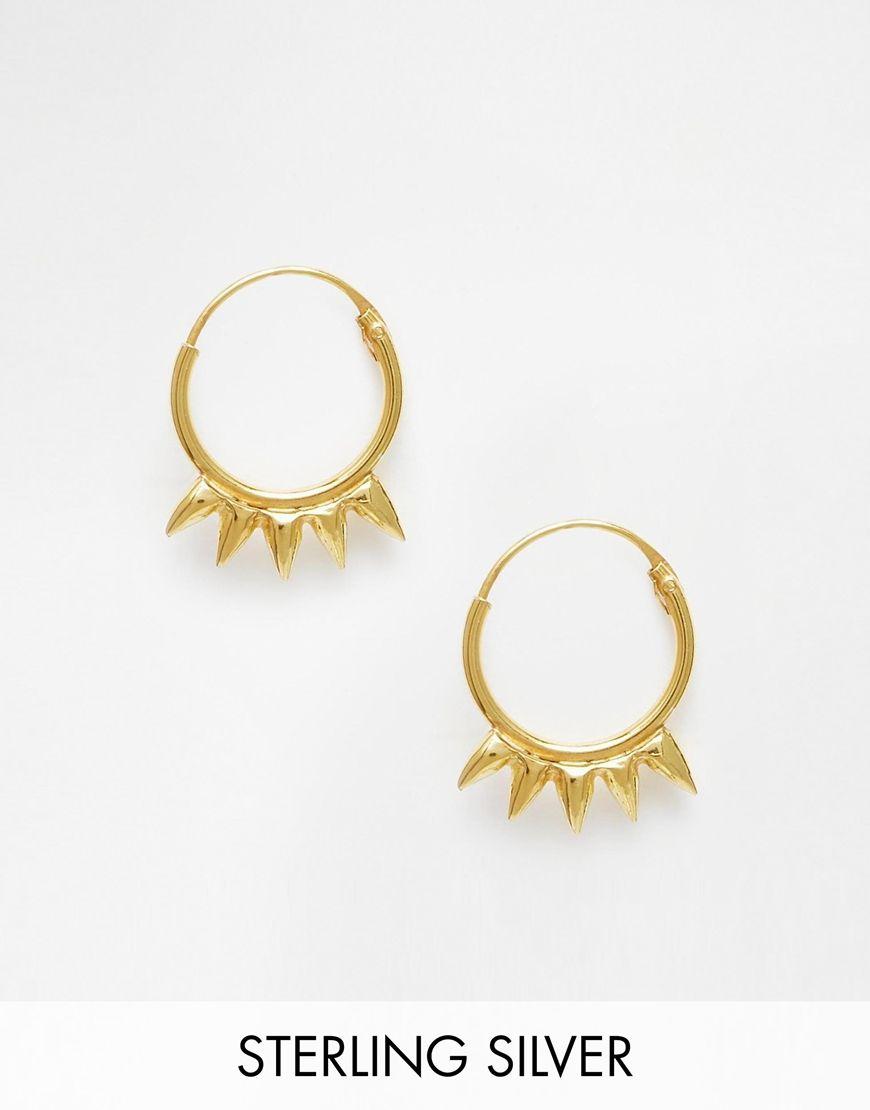 Asos Gold Plated Sterling Silver Mini Spike Hoop Earrings