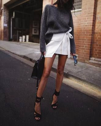 1e6486533c  45 Cool Casual Chic Summer Street Style Bright White Wrap Round Skirt  Skort With Grey Jumper Tumblr