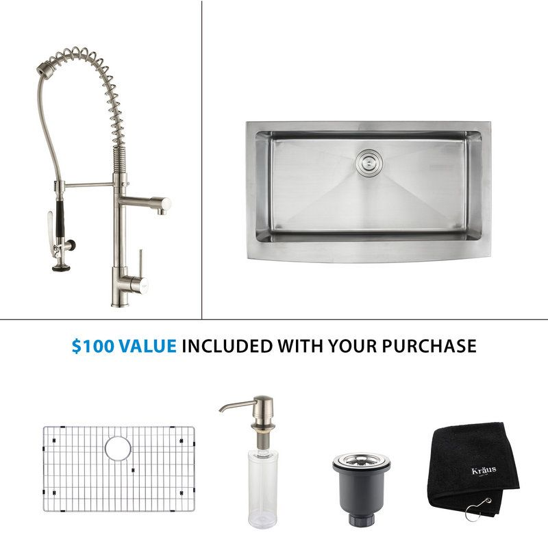 """Kitchen Combo - 35-7/8"""" Farmhouse Single Bowl 16 Gauge Stainless Steel Kitchen Sink with Pre-Rinse Kitchen Faucet and Soap Dispenser. Kraus KHF200-36 sink plus KPF1602-KSD30SS stainless (not chrome) faucet (including spray and steam) combo plus extras. $764.96 from FaucetDirect.com. Extra 5% off through 7/29 with coupon krausfive"""