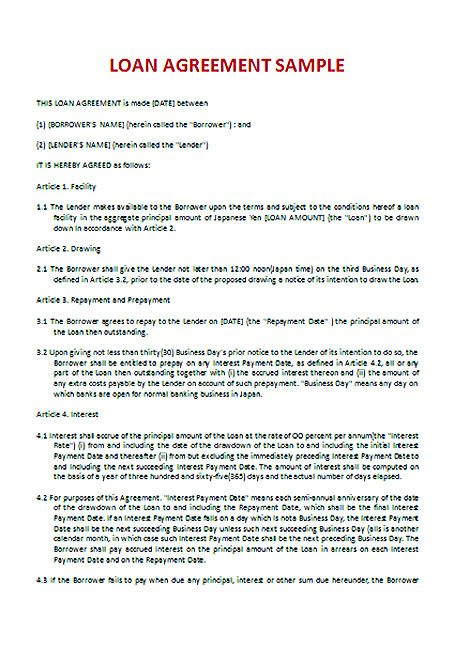 Download Loan Contract Template with Crucial Details to Note - loan payment agreement template