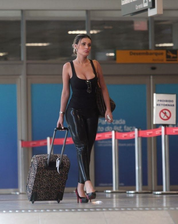Andressa Urach at The Airport in Tight Black Leather Pants