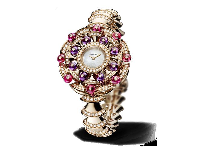 Montre à quartz, boîtier 39 mm en or rose 18 carats serti de diamants  taille brillant, perles rondes en rubellite et perles rondes en améthyste,  ... 3b6d2508119