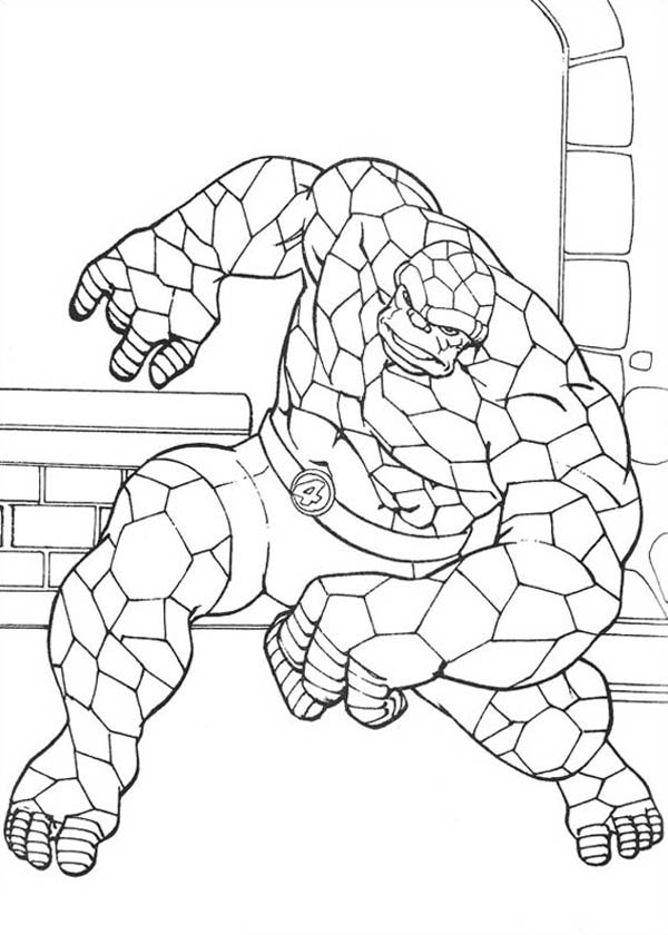 Thing In Action In Fantastic Four Coloring Pages Bulk Color Coloring Pages Fantastic Four Color