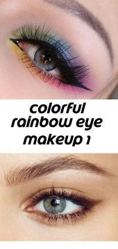 Photo of Colorful Rainbow Eye Makeup 1 #wingedliner Colorful Rainbow Eye Makeup # …