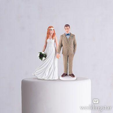 Trendy Bride Porcelain Figurine Wedding Cake Topper