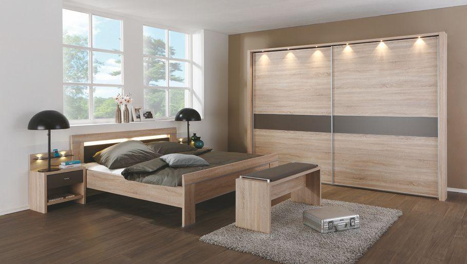 Schlafzimmer Mit Bett 180 X 200 Cm Eiche Säreau\/ Havanna Woody 138 - schlafzimmer eiche