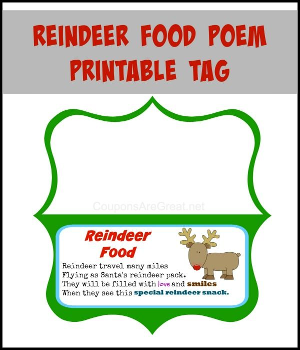 Reindeer Food Poem Printable Craft