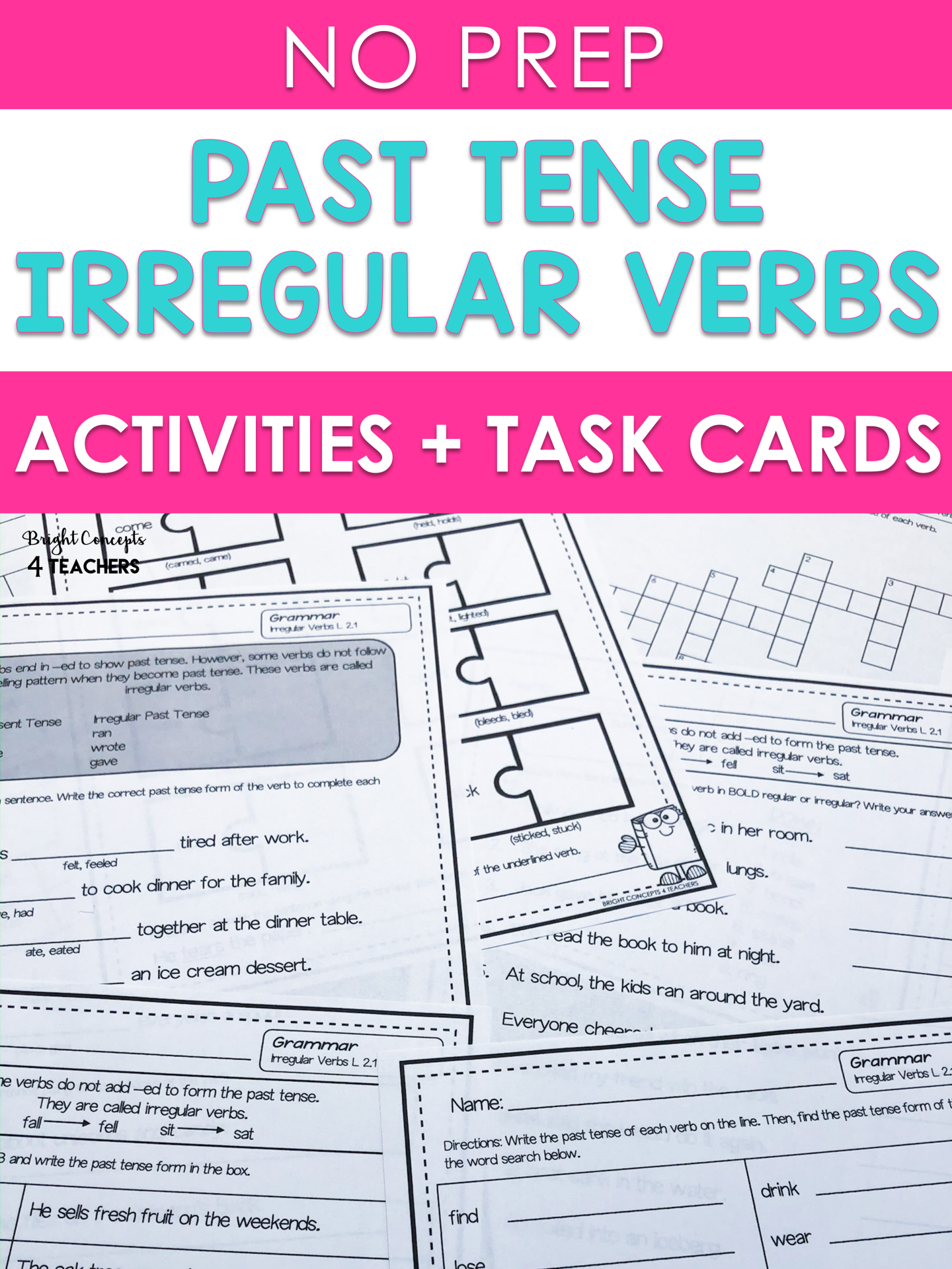 Irregular Past Tense Verbs No Prep Activities Task Cards