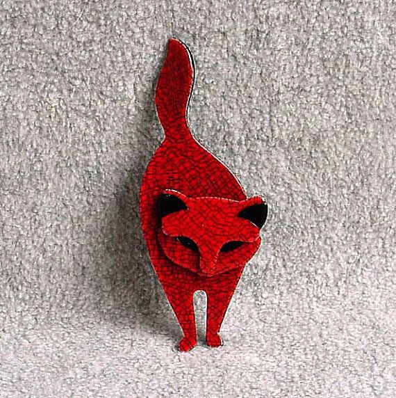 "Lea Stein Cat Brooch Pin Attila Celluloid Kitty 4 1/8"" Tall Cherry Red & Black Vintage Paris France French Modern Designer Figural Jewelry"