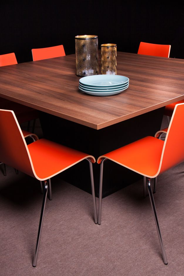 Conic Dinner With Melamine Walnut Top 150 X150 And Scala Chairs In  Tangerine@homefair Flexfurn