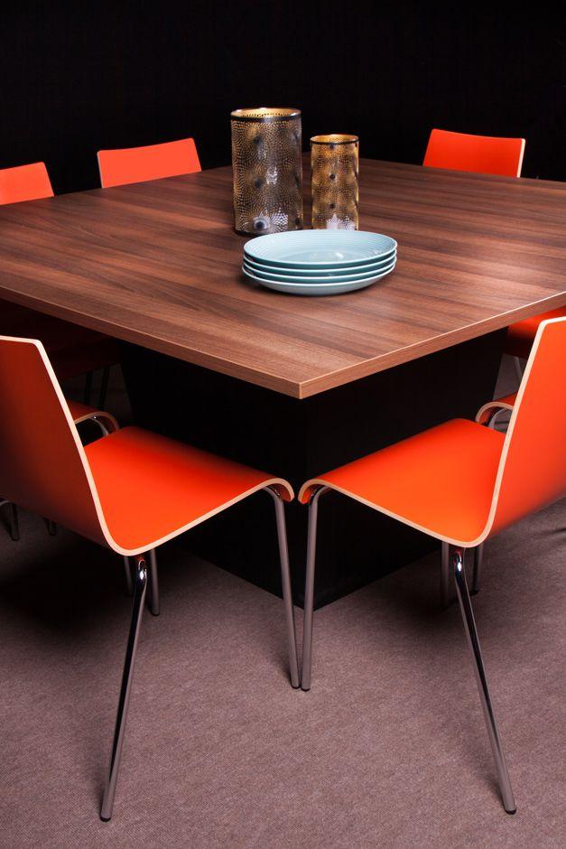 Conic Dinner With Melamine Walnut Top 150 X150 And Scala Chairs In  Tangerine@homefair Flexfurn