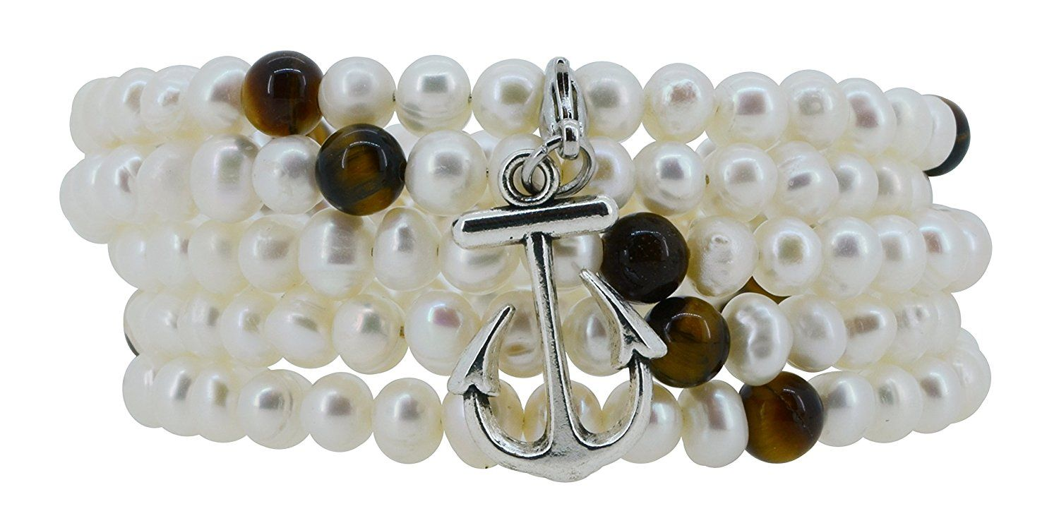 Freshwater cultured white pearls tiger eye wrap around bracelet with