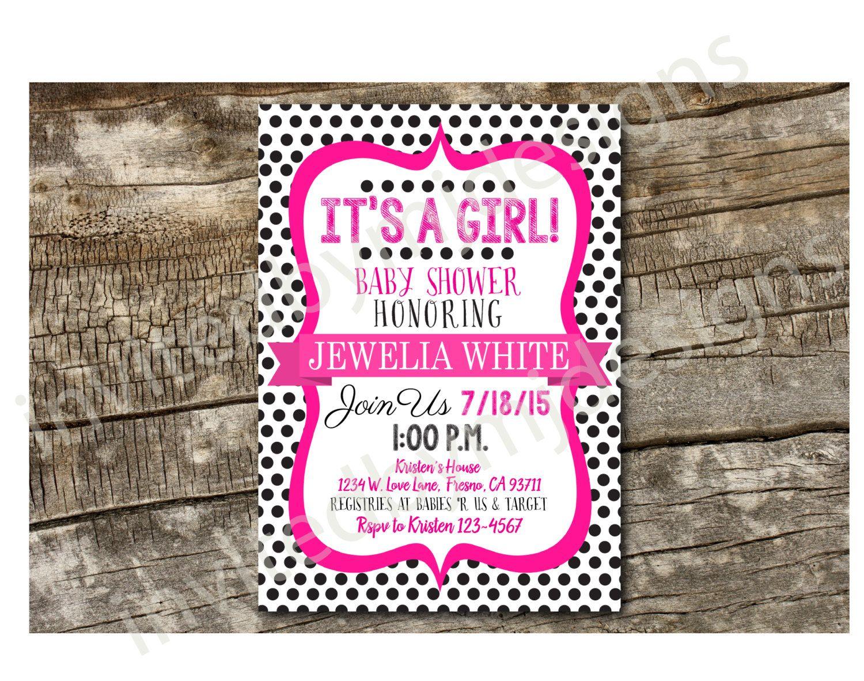 Polka Dot Baby Shower Invitation - Digital Download by invitedbymj on Etsy