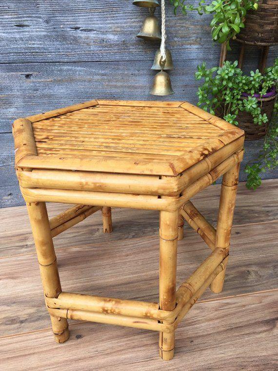 Fantastic Bamboo Plant Stand Small Side Table Hexagonal Accent Table Interior Design Ideas Tzicisoteloinfo