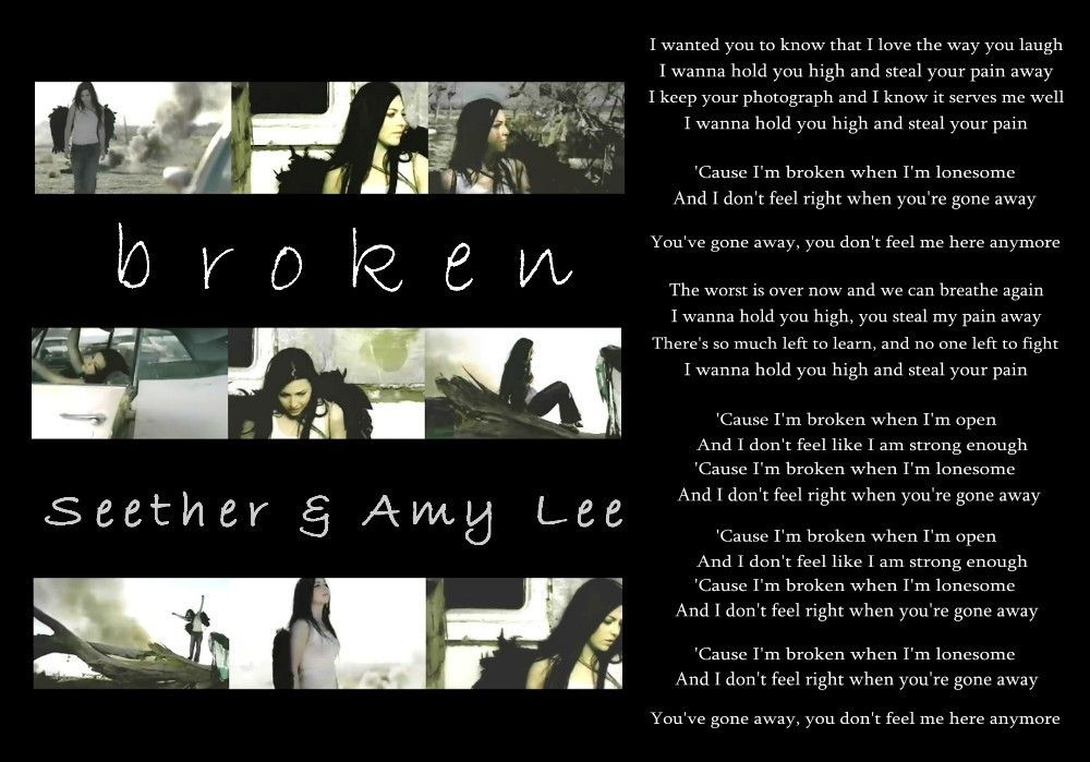 Lyric brantley gilbert just as i am lyrics : Broken - Seether & Amy Lee | ♫ Music Speaks When Words Fail ...