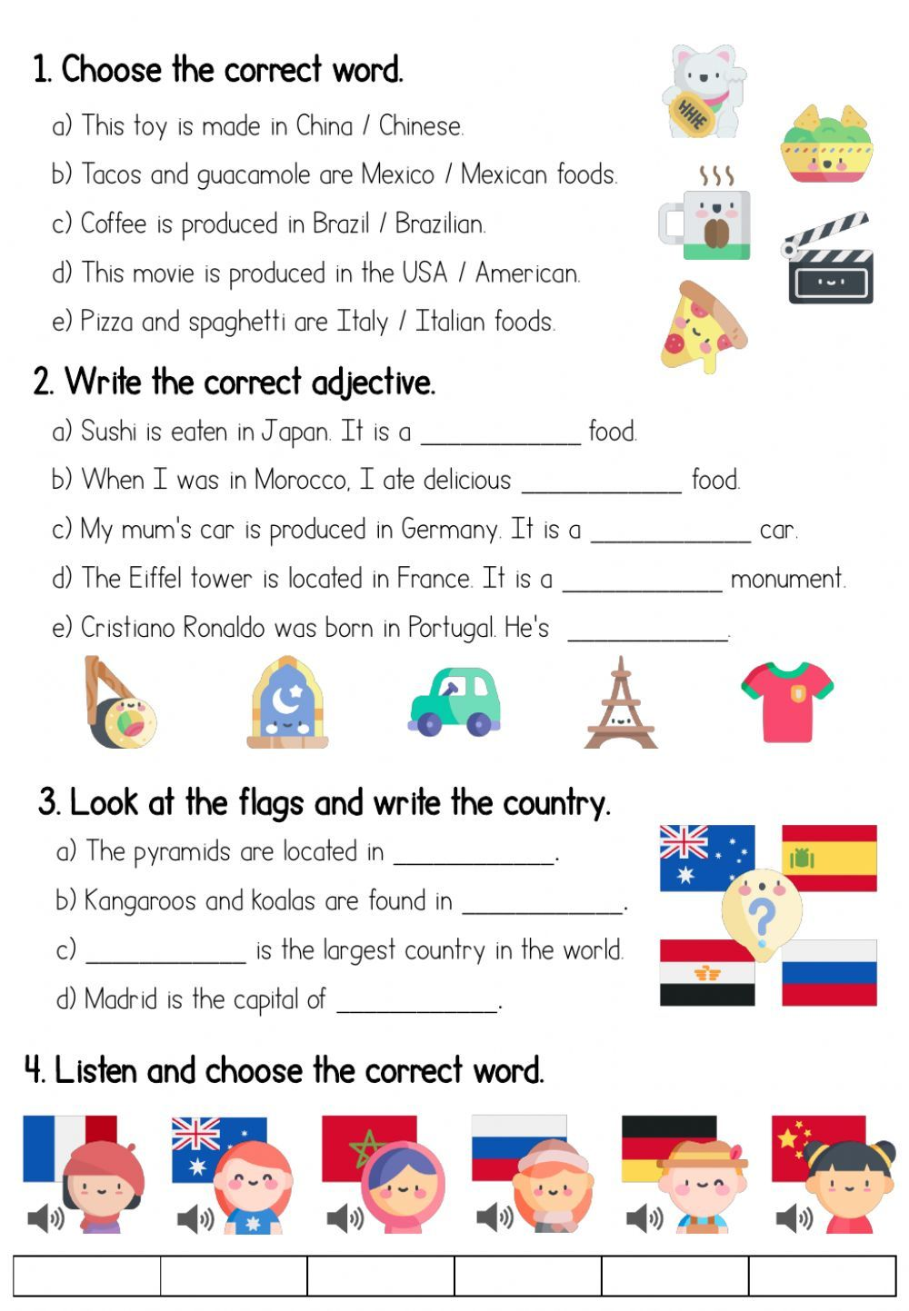 Countries and adjectives Interactive worksheet in 2020