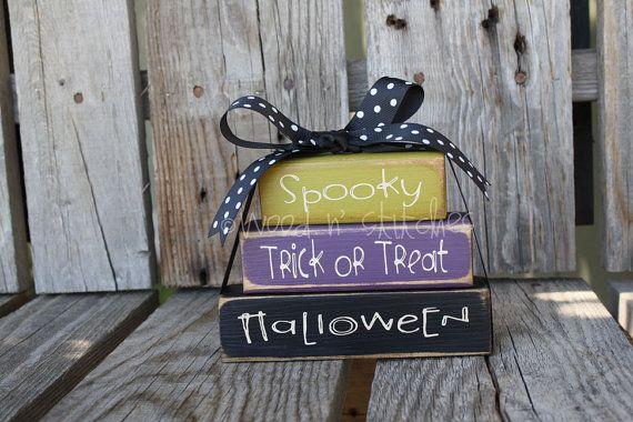 Halloween Primitive wood block stacker decor    halloween fall
