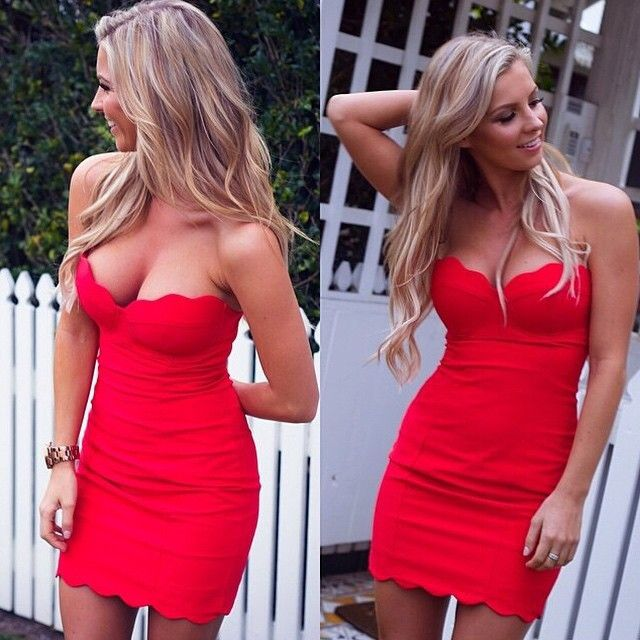 Find More Dresses Information about Red Color Women Strapless Tube ...