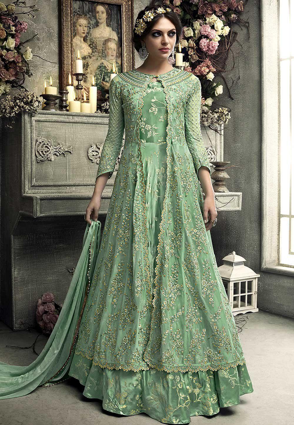 Mint Green Heavy Net Koti Style Anarkali S304 Net Dress Design Fashion Saree Designs