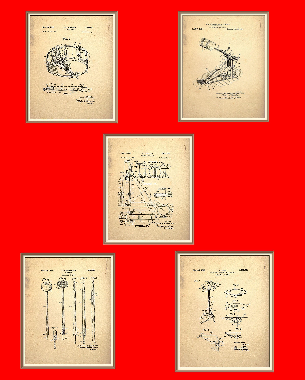 Vintage Drum Kit Patent Print 5 Set on a vintage Paper background ...