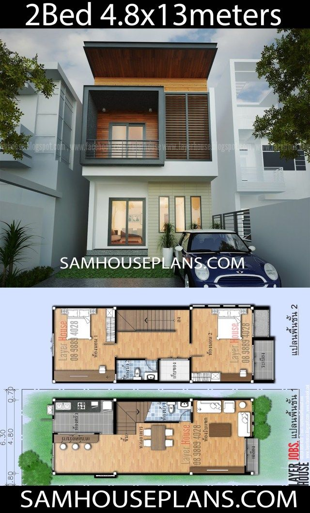 House Plans Idea 4 8x13m with 2 bedrooms is part of Town house plans, Small house design exterior, Modern house facades, House plans, Architectural floor plans, 2 storey house design - House Plans Idea 4 8x13m with 2 bedroomsInformation you should know of the model  Project 25Living area of ​​the building The size of the building