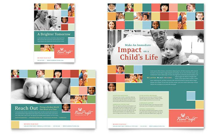 Non Profit Association for Children Flyer and Ad Download - school brochure template