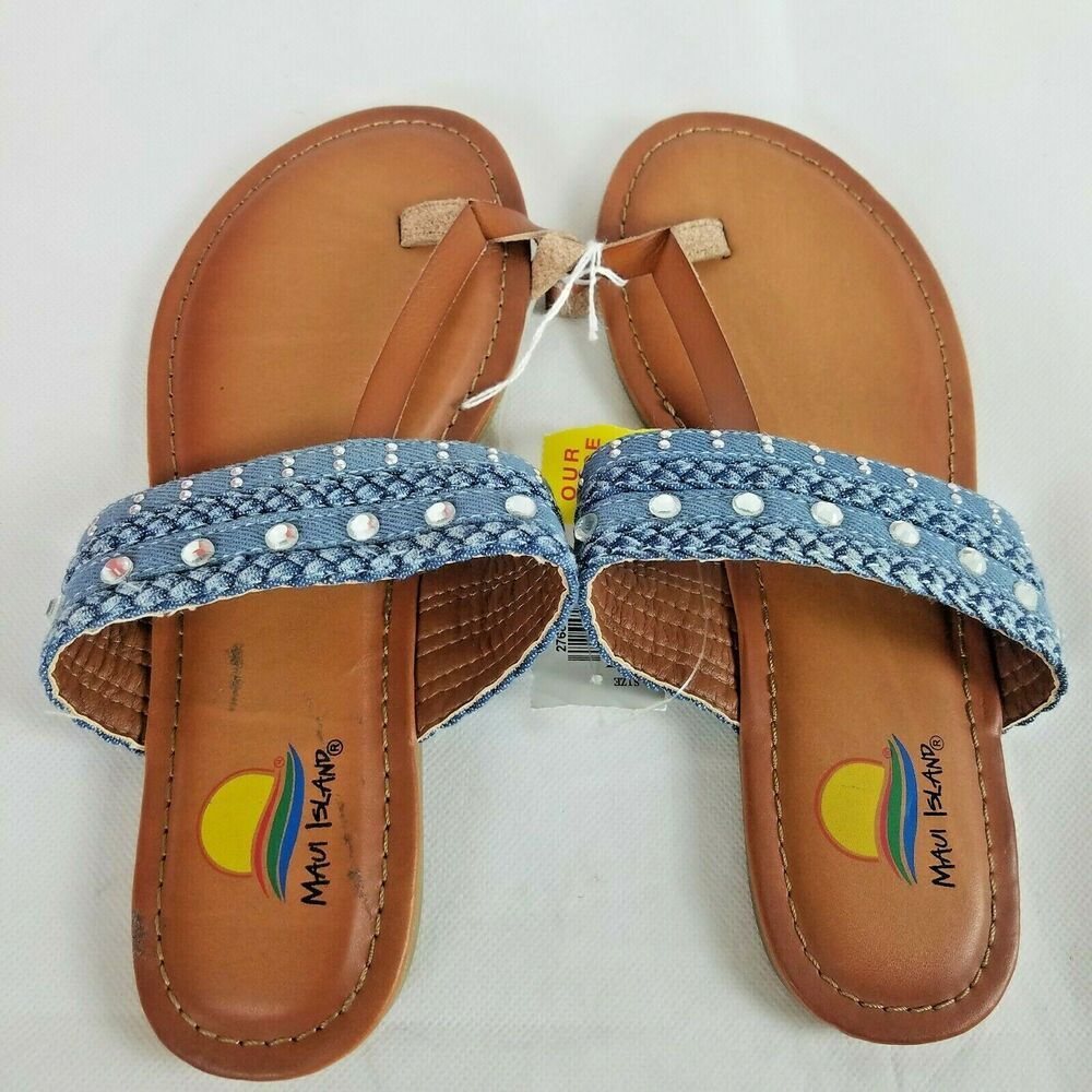 Maui Island Girls Sandals Size 5 Youth Toe Thong Flip Flops New Brown & Blue #mauiisland #FlipFlop