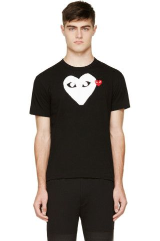 Comme des Garçons Play: Navy & White Logo T-Shirt | SSENSE