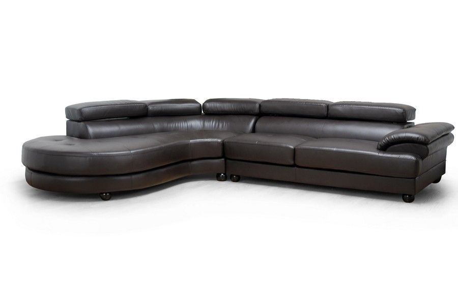 Adelaide Dark Brown Leather Modern Sectional Sofa Left Facing Chaise Modern Leather Sectional Modern Sofa Sectional Left Facing Chaise