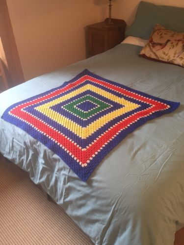 Vintage blanket crochet baby #sized 1980's retro (cleaned and #washed) #throw,  View more on the LINK: http://www.zeppy.io/product/gb/2/272120492751/