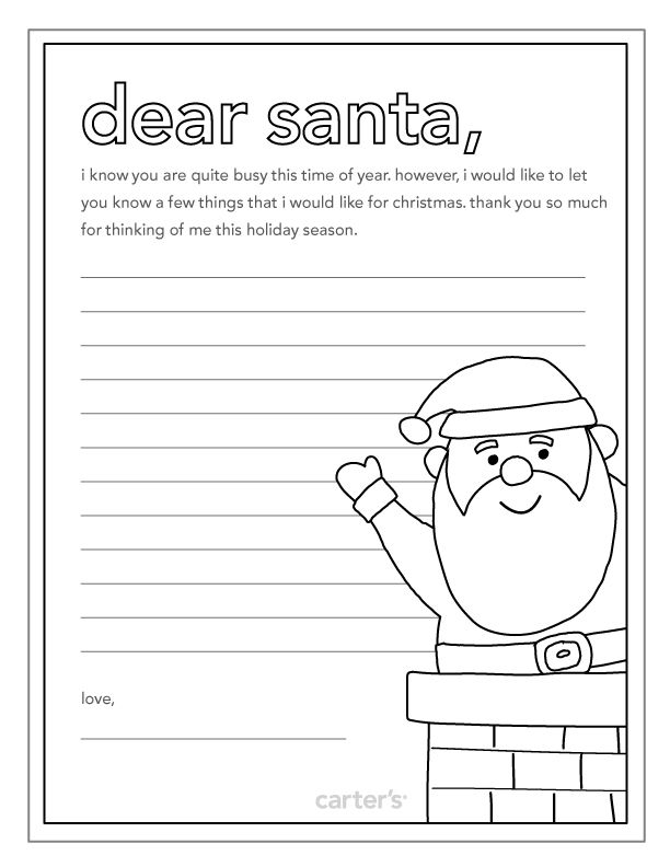 Santa Printables Carters Dear Santa Christmas Fun Coloring Pages