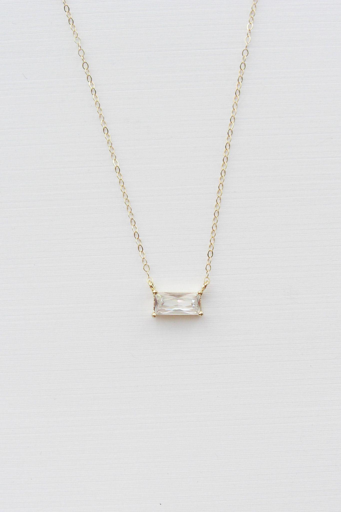 Minimalist Baguette Necklace Christine Elizabeth Jewelry