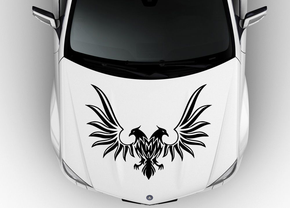 Wild Evil Double Eagle Birds On Car Hood Decals Head Predators Decor