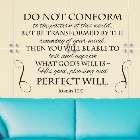 Inspiration Wall Decal Do Not Conform Romans 12:2 Bible Jesus Quote Vinyl Decor