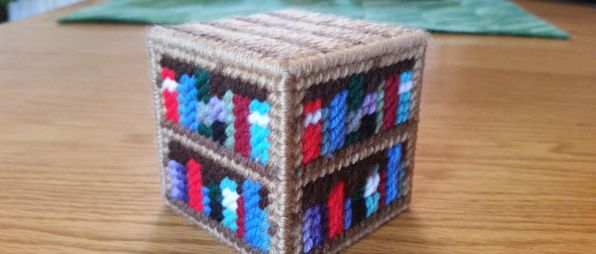 Minecraft Bookshelf In Plastic Canvas
