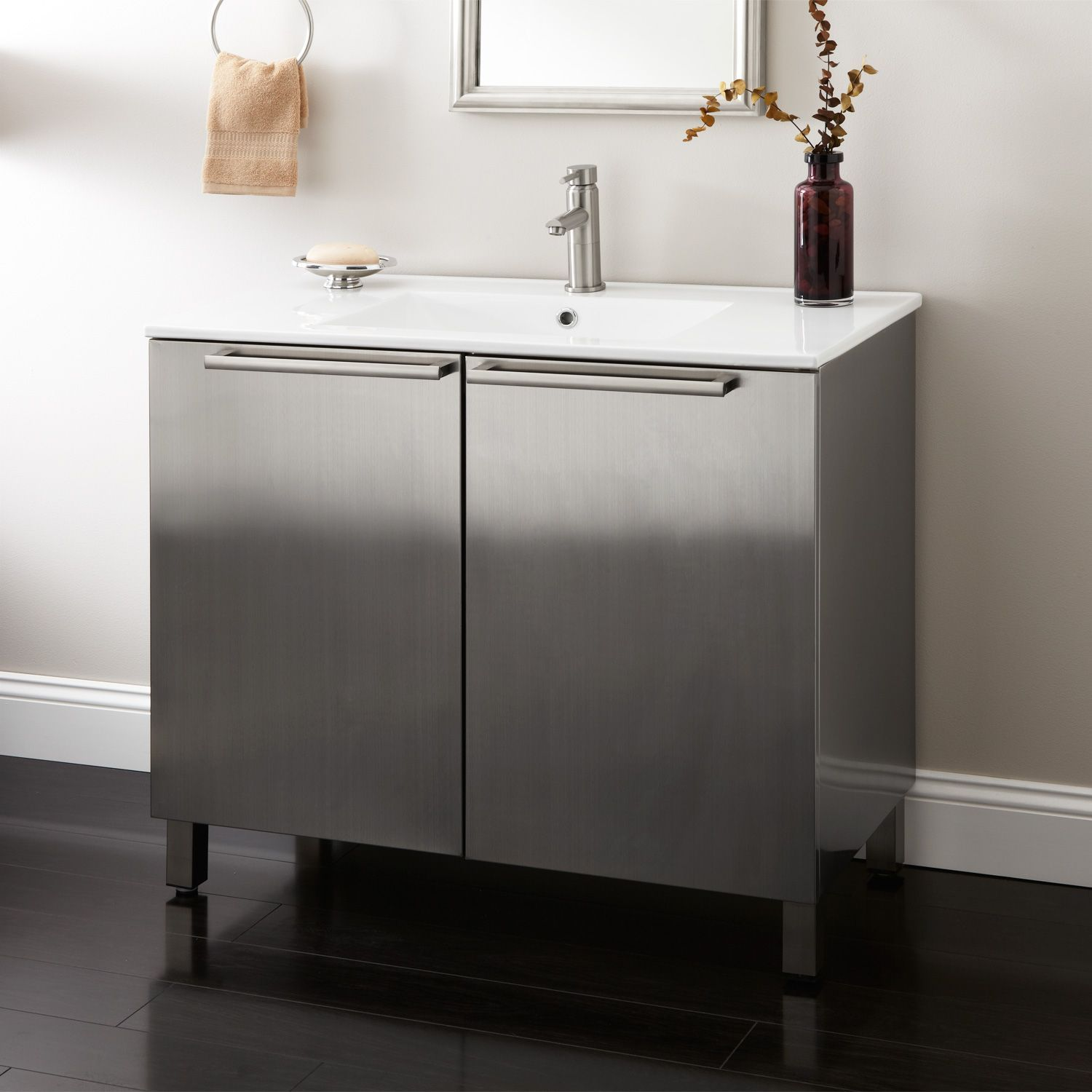 "30"" Mercutio Stainless Steel Vessel Sink Vanity Polished"