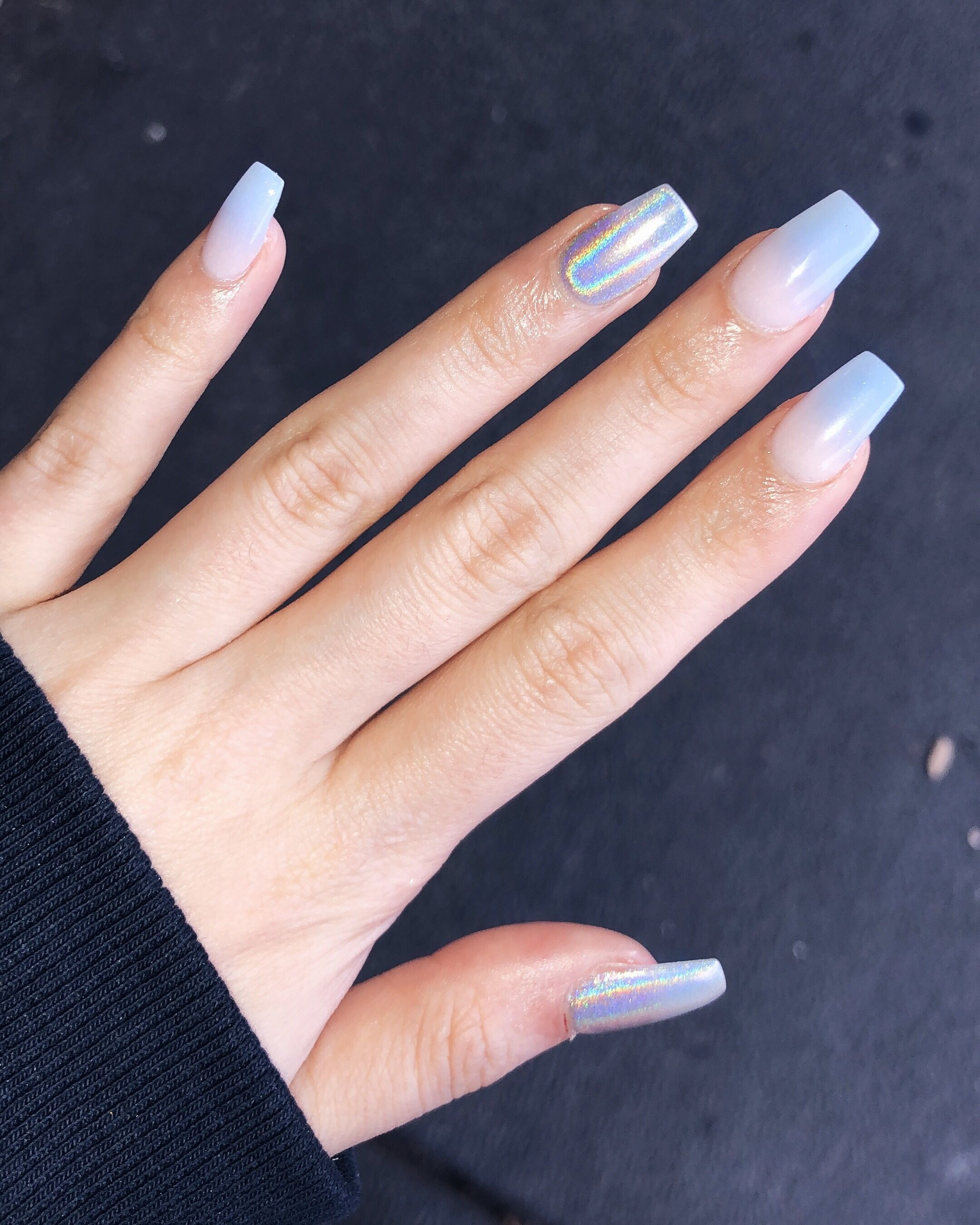 Holographic Ombre Acrylic Nails Celfie Nail Salon Holographic Nails Holographic Nails Acrylic Ombre Acrylic Nails