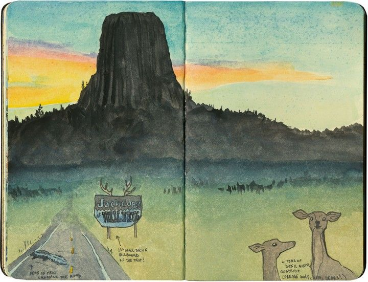 Devils Tower In Wy Sketch By Chandler O Leary Illustration Art