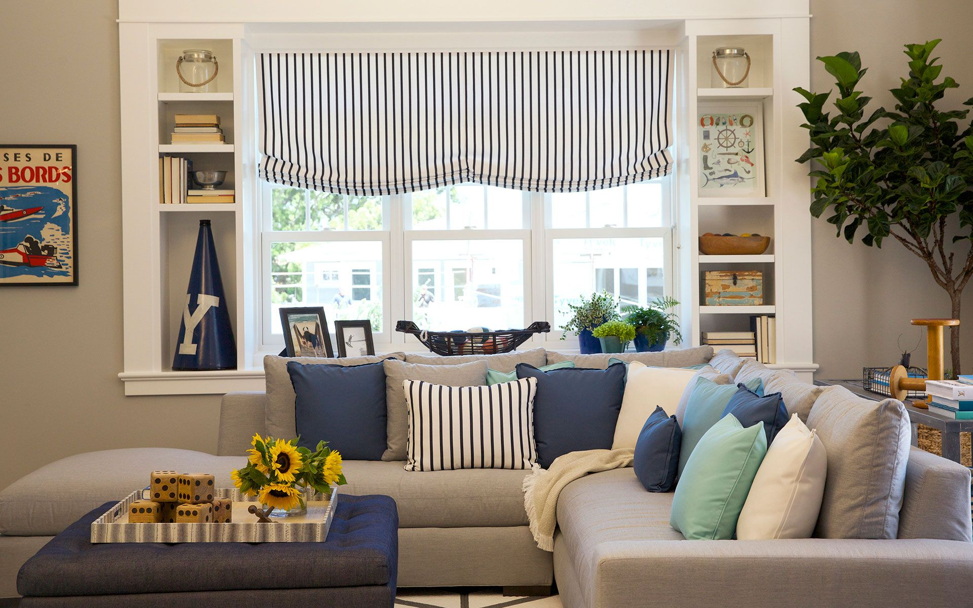 Attractive Recreate The Beautiful Blues And Grays Of This Room With Sunbrella Fabrics  In Canvas Granite,