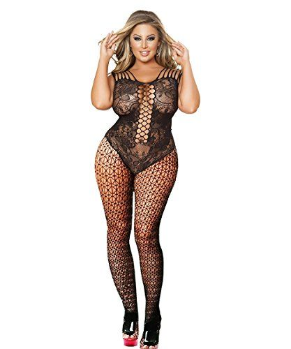 5720cc134 Curbigals Sheer Black Floral Body Style Bodystocking With Large Hole  Fishnet Central Panel And Strappy BackMaterial  nylon