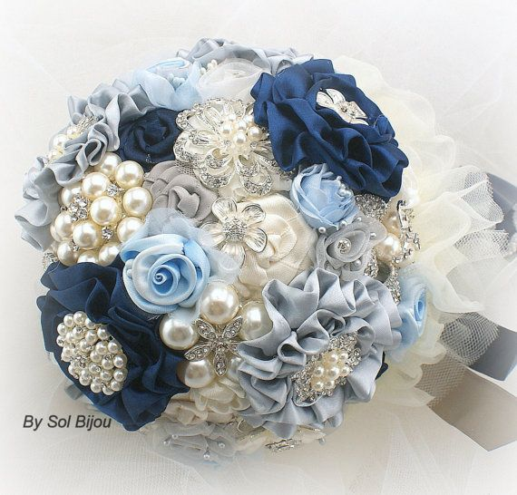 Brooch Bouquet Wedding Navy Blue Ivory Silver And Powder Something