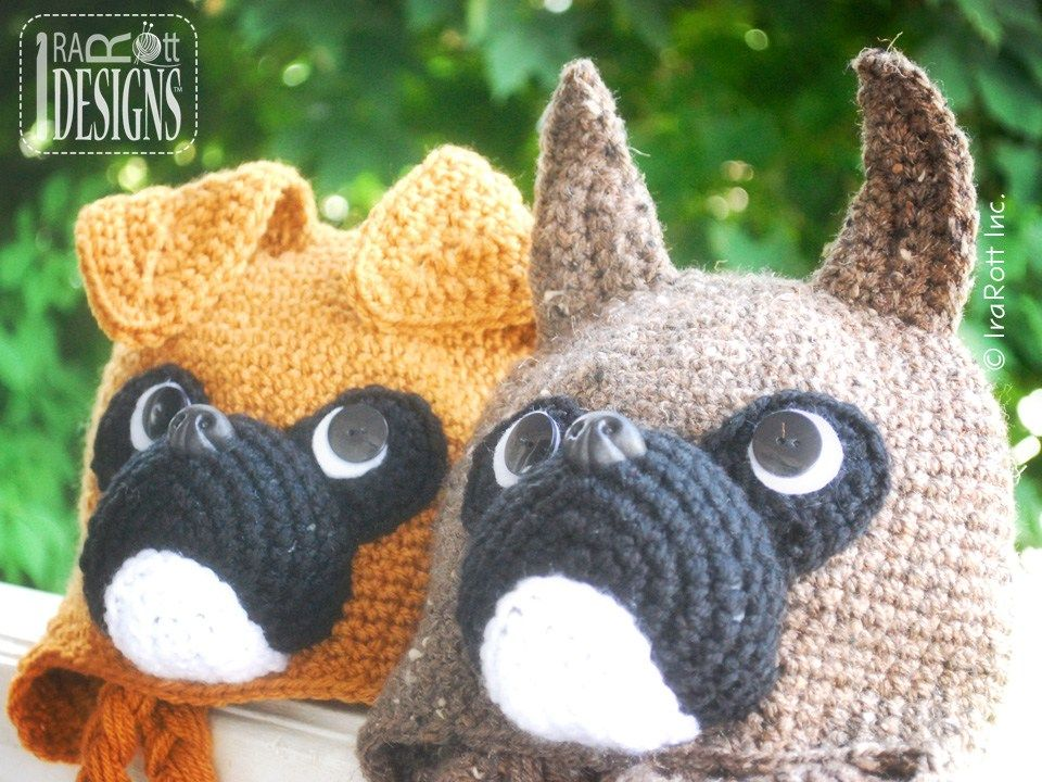 Boxer Puppy Dog Animal Hat Crochet Pattern for boy and girls of all ...