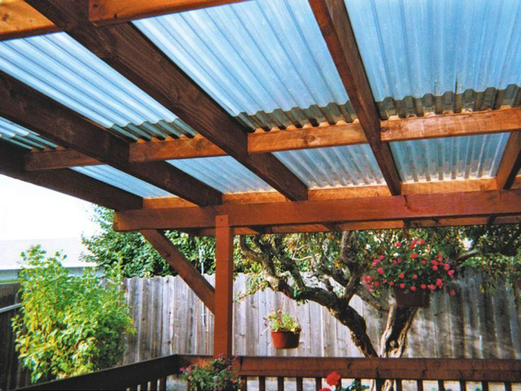Deck pergola with fibreglass roofing fibreglass roof for Roof sheathing material options