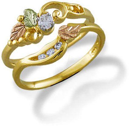 u ladies black hills gold wedding set with engagement ring