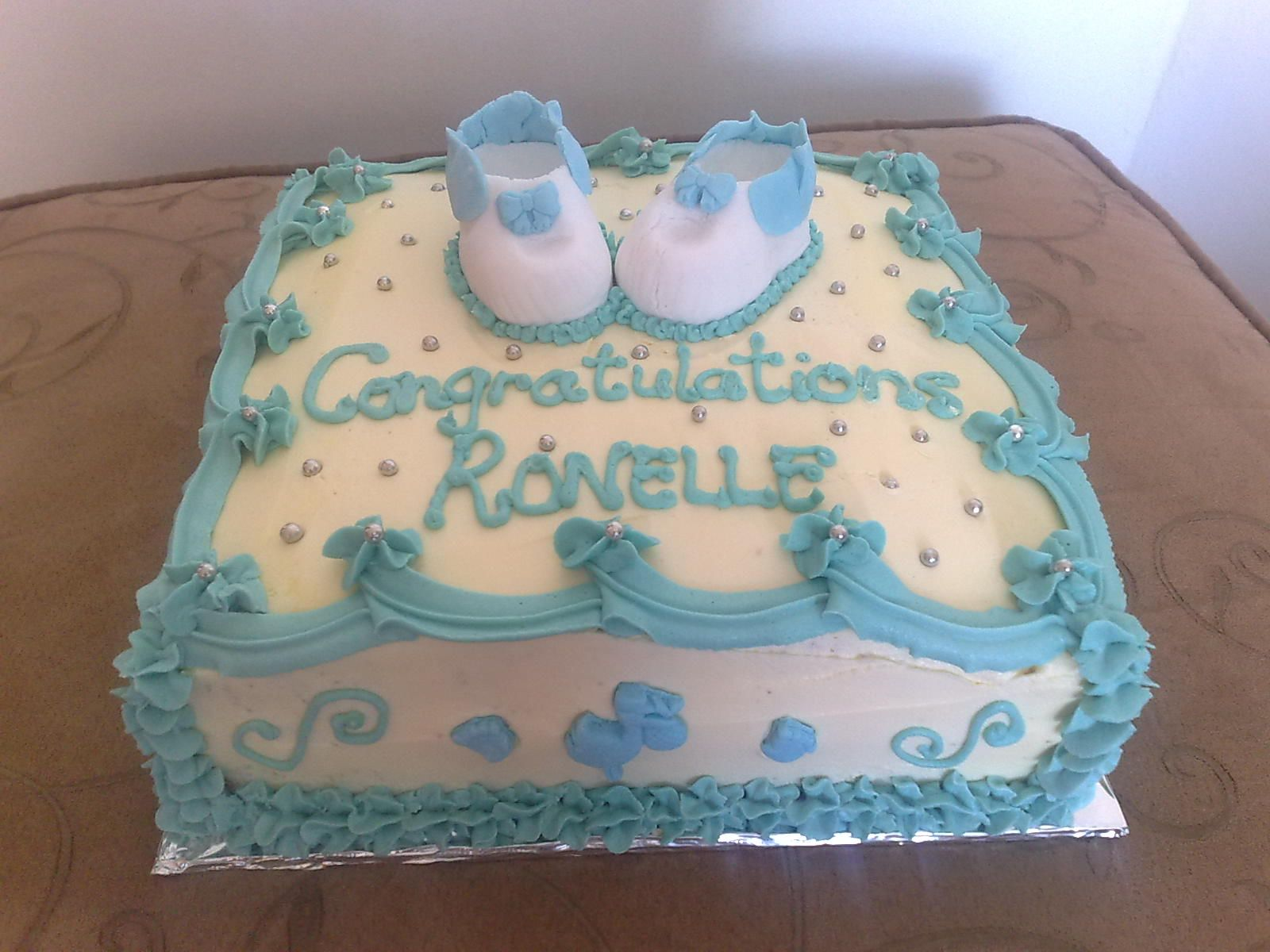 Baby Shower Cakes For Boys | BABY SHOWER CAKE IN BLUE N WHITE   CAKES BY