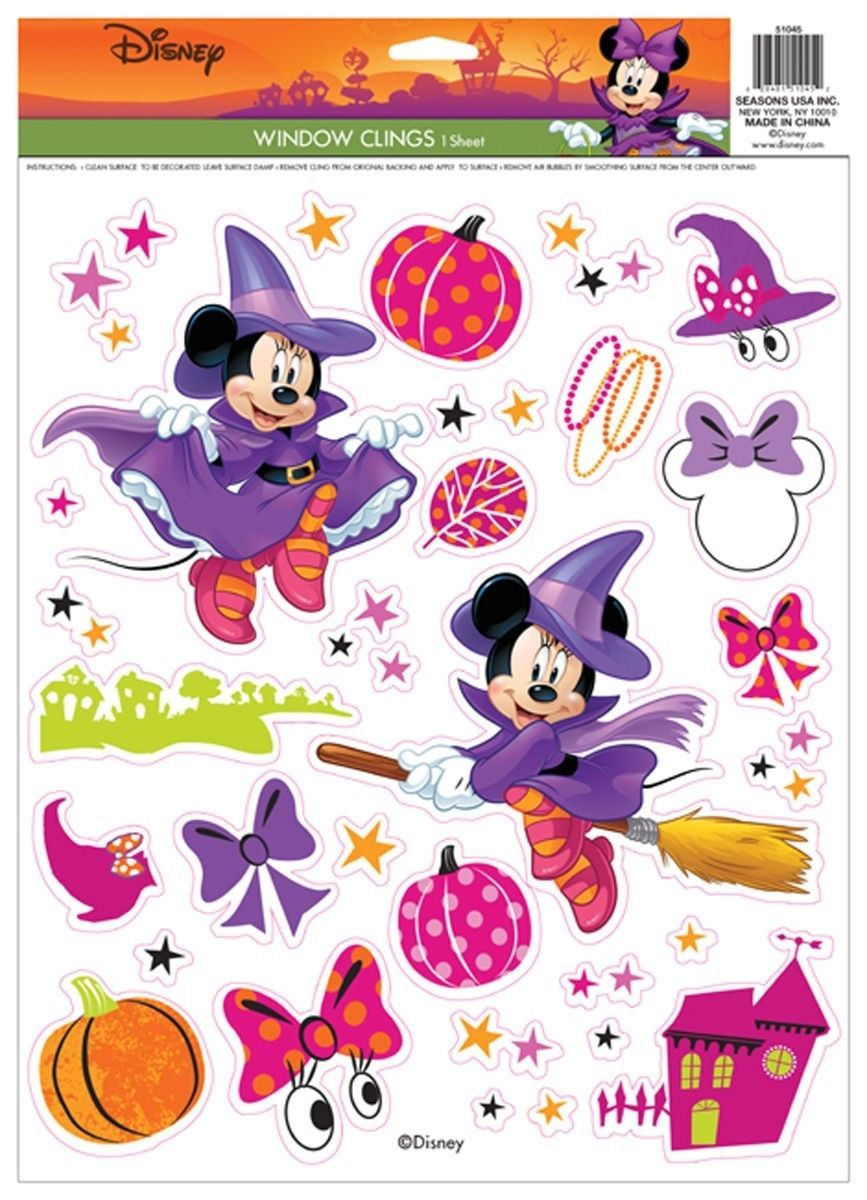 $288 - Minnie Mouse Witch Window Clings Halloween Prop Decoration - minnie mouse halloween decorations