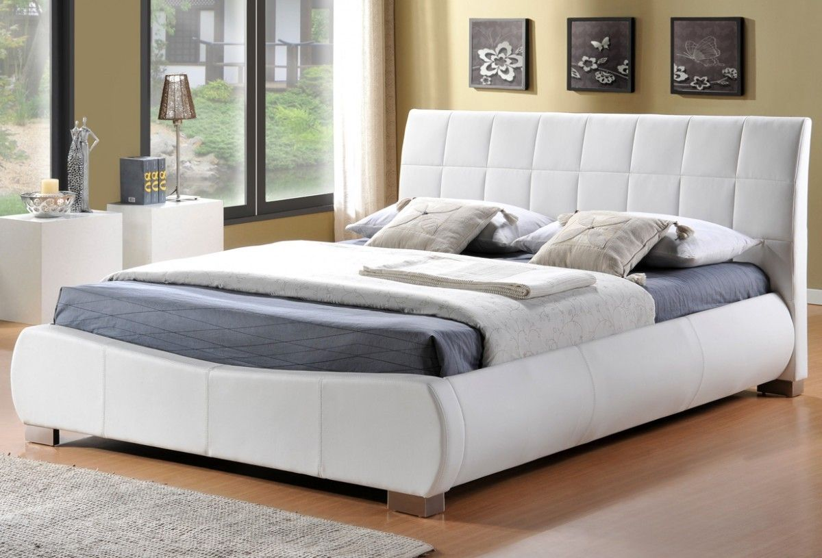 A Highly Luxurious And Trendier White Leather Bed That Creates