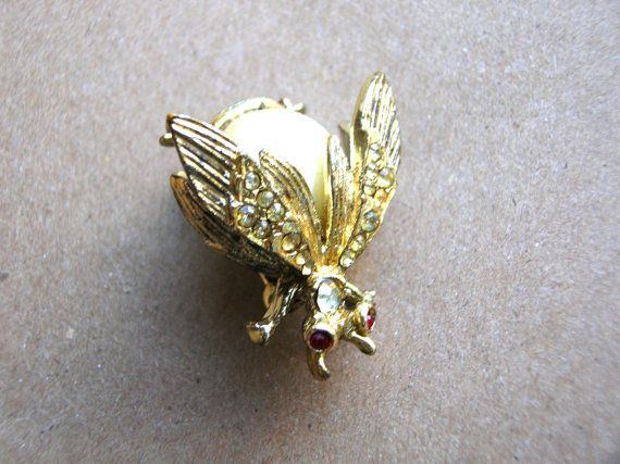 Vintage Rhinestone Bug Pin  Bug Brooch  by BohemianGypsyCaravan