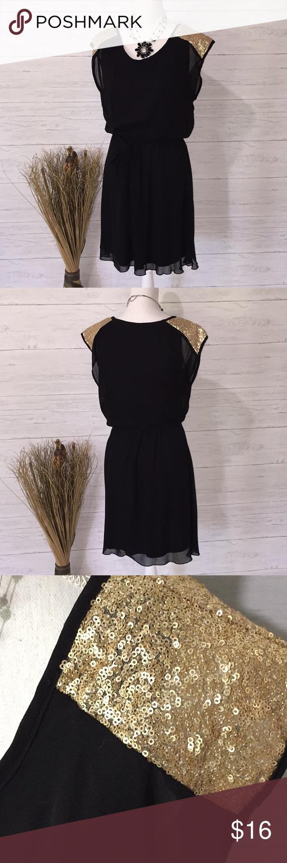 Tacera Black Chiffon Dress M Tacera Black Chiffon Dress Gold Sequence Accents On Shoulders Tie With Elastic Waist Chiffon Dress Black Chiffon Dress Dresses [ 1740 x 580 Pixel ]